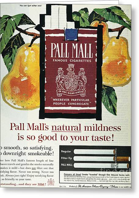 Pall Mall Cigarette Ad, 1962 Greeting Card