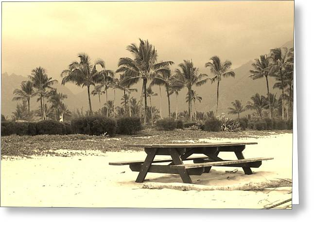 Palm Picnic Greeting Card by Sharon Farris