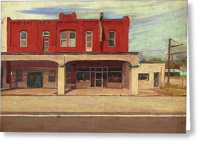 Greeting Card featuring the painting Palmer Hotel And Cafe In Afton Ok by Nop Briex