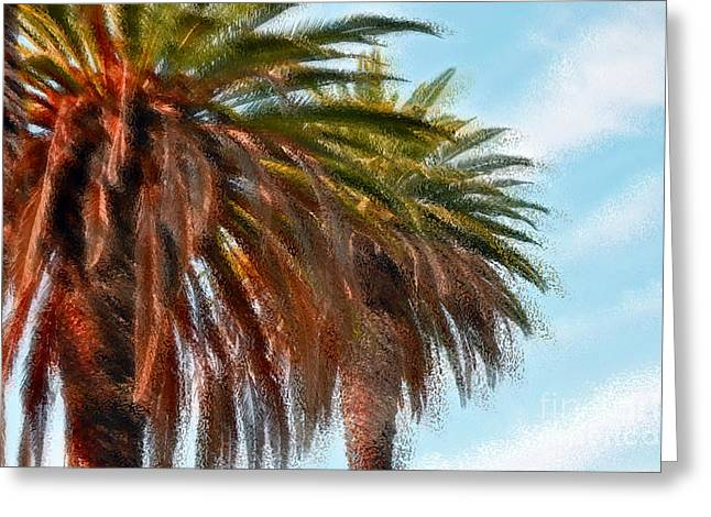 Palms A'glo Greeting Card by Gwyn Newcombe