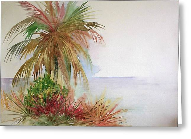 Greeting Card featuring the painting Palms On Beach II by Richard Willows