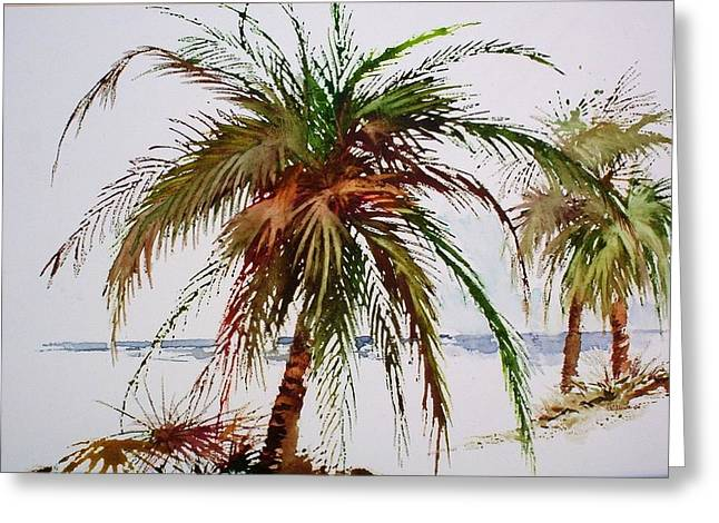 Palms On Beach Greeting Card