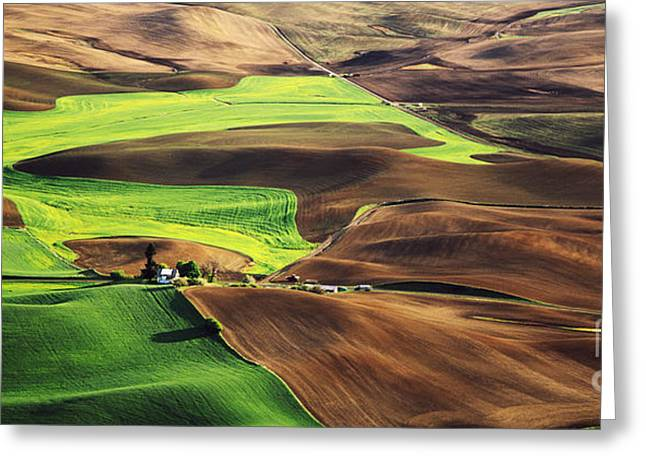 Palouse Farm Country Greeting Card by Dennis Flaherty and Photo Researchers