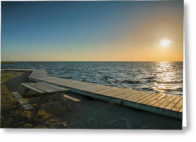 Pamlico Sound And Boardwalk I Greeting Card by Steven Ainsworth