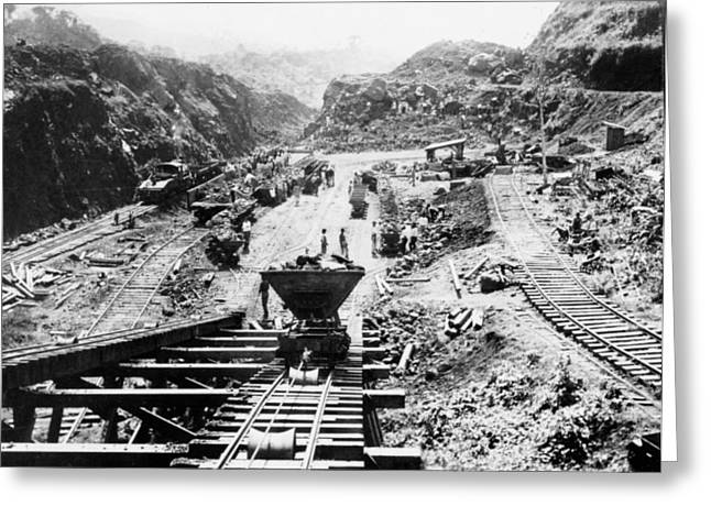 Panama Canal - Construction At The Culebra Cut - C 1910 Greeting Card by International  Images