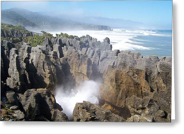 Pancake Rocks Blowhole Greeting Card by Peter Mooyman