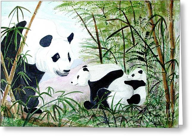 Panda Family Greeting Card by Pauline Ross