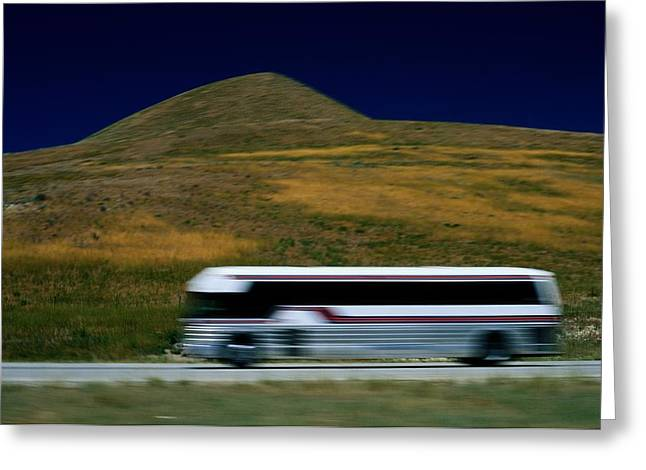 Panned View Of A Bus On Interstate 15 Greeting Card by Raymond Gehman