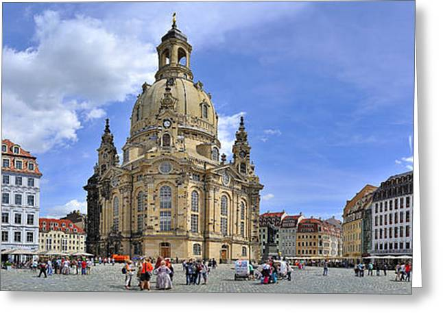 Theater Greeting Cards - Panorama  Dresden church of our woman Greeting Card by Travel Images Worldwide