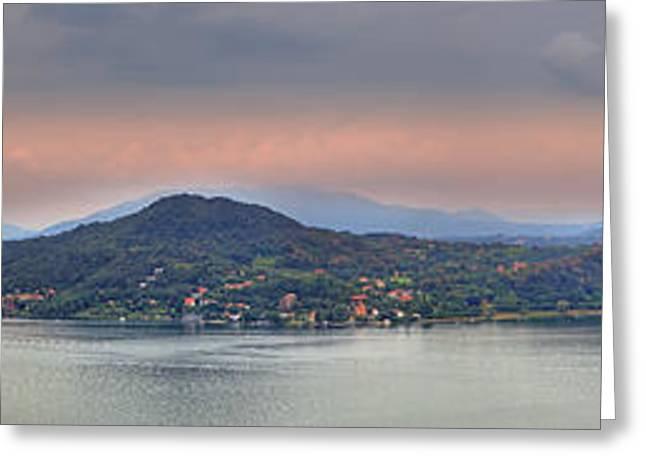 Panorama Lake Maggiore Greeting Card by Joana Kruse