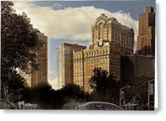 Panorama Of Manhattan Downtown  Greeting Card by Alex AG