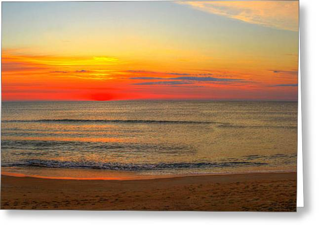 Panoramic Beach Sunrise Outer Banks Greeting Card