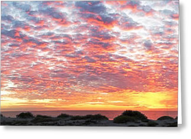 Panoramic Beach Sunset Greeting Card by John Myers