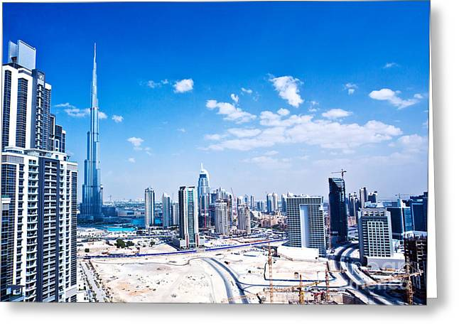 Panoramic Image Of Dubai City Greeting Card by Anna Om