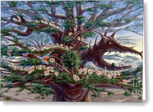 Panoramic Lorn Tree From Arboregal Greeting Card by Dumitru Sandru