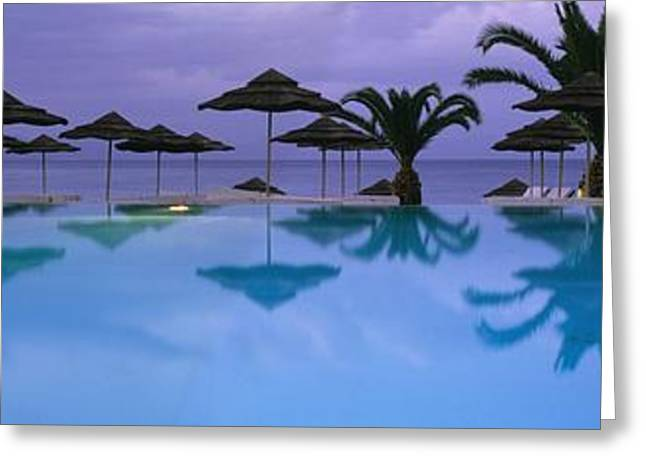 Panoramic View Of Infinity Pool Greeting Card by Axiom Photographic