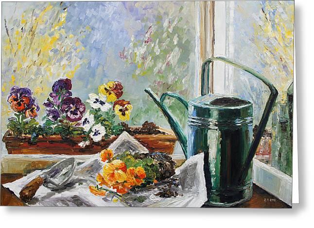 Pansies For My Window Box Greeting Card by Barbara Pommerenke