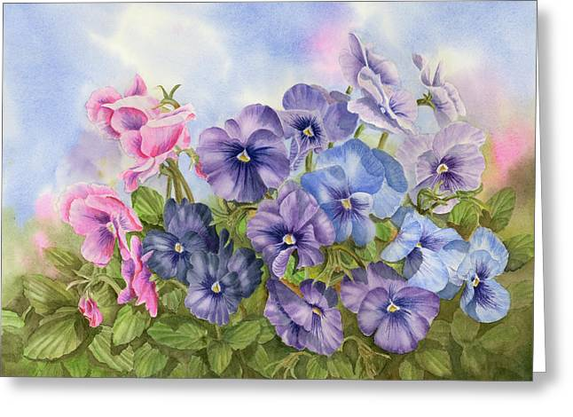 Pansies Greeting Card by Leona Jones