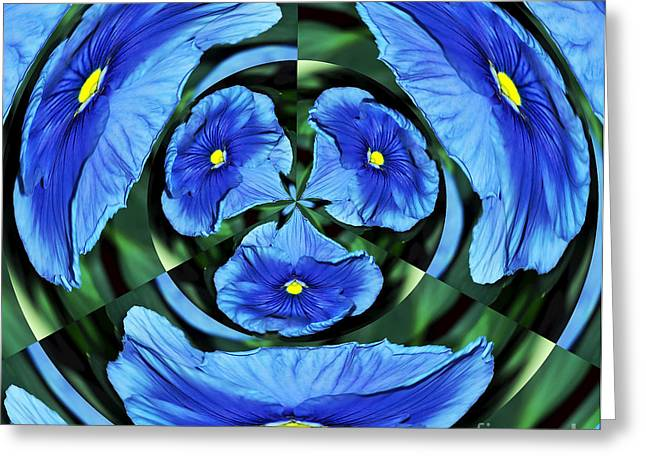 Pansy In Triplicate Greeting Card by Kaye Menner