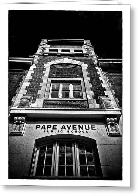 Greeting Card featuring the photograph Pape Avenue Public School by Brian Carson