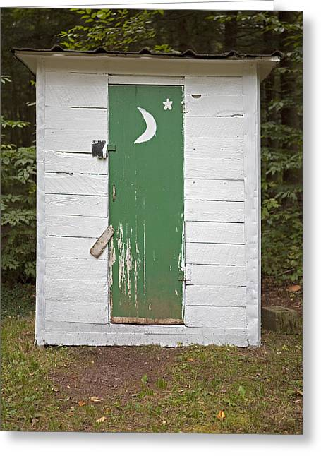 Paper Moon Outhouse Greeting Card by John Stephens
