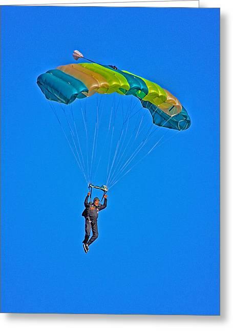 Parachuting Greeting Card by Karol Livote