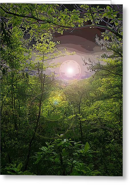 Paradise At Dawn Greeting Card by Nina Fosdick