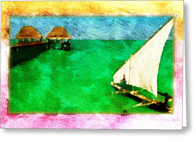 Greeting Card featuring the digital art Paradise Island by Andrea Barbieri
