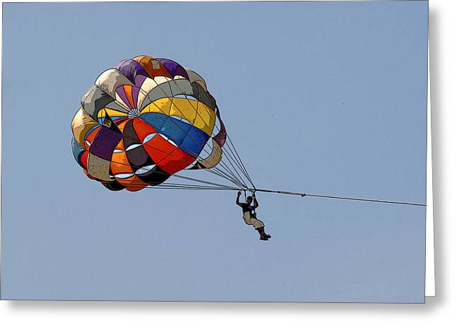Paraglider Blue Greeting Card by Kantilal Patel