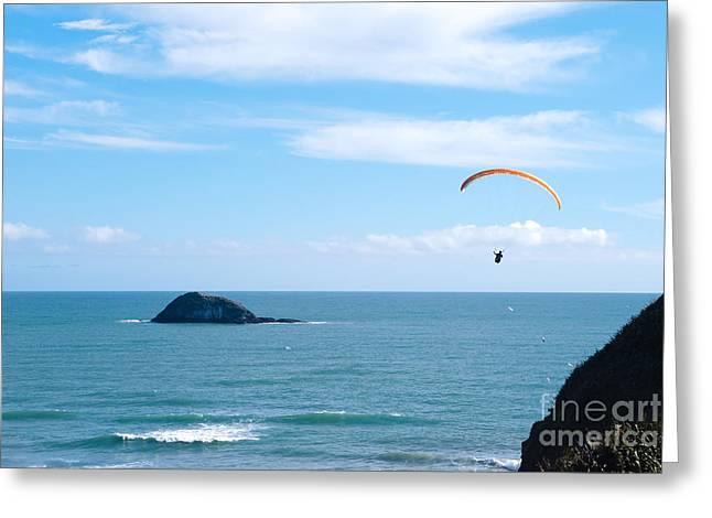 Paraglider On The Ocean Beach Greeting Card