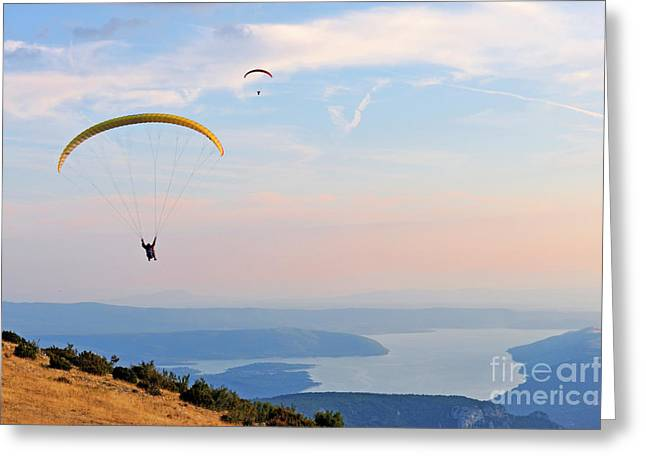 Paragliders Flying At Sunset Greeting Card