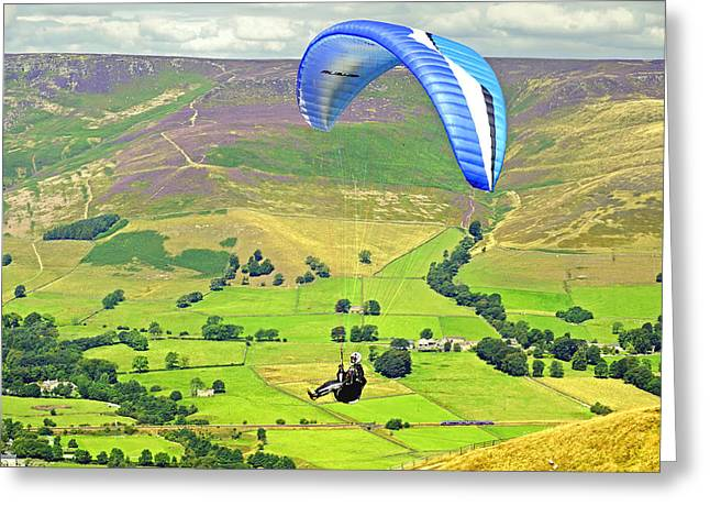 Paragliding Off Mam Tor 01 Greeting Card by Rod Johnson