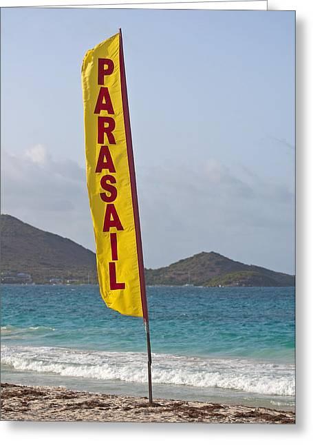 Parasail Beach Flag. Greeting Card
