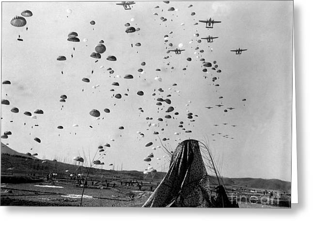 Paratroopers Jump From From C-119s Greeting Card by Stocktrek Images
