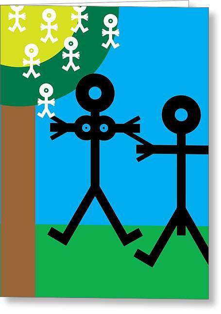 Parents And Babies, Conceptual Artwork Greeting Card