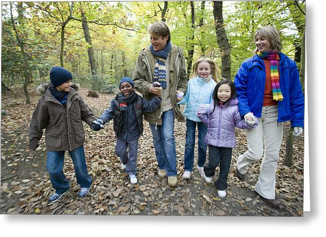 Parents And Children Walking In A Wood Greeting Card