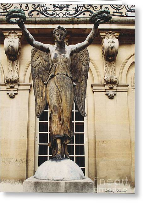 Paris Courtyard Musee Carnavalet Angel Statue - Victory Allegorical Angel Statue Greeting Card by Kathy Fornal