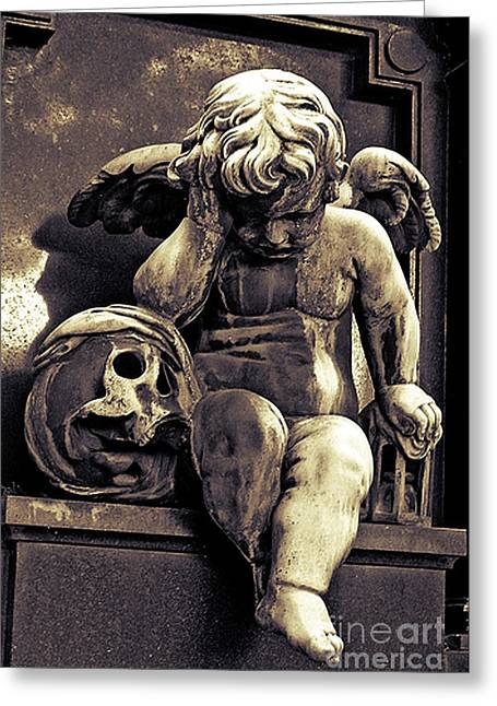 Paris Gothic Angel Cemetery Cherub - Cherub And Skull Pere Lachaise Cemetery Greeting Card by Kathy Fornal