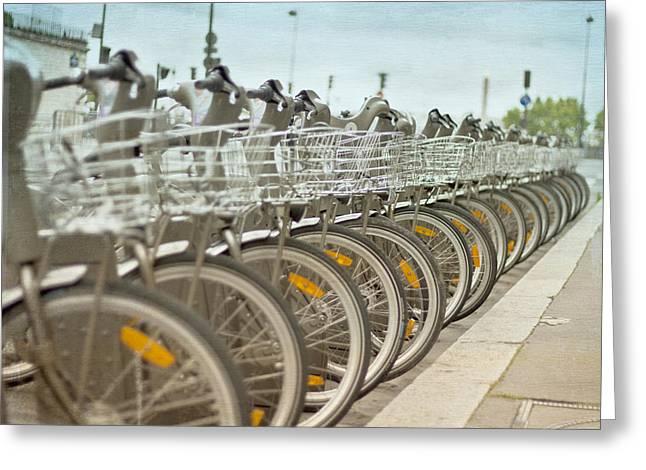 Paris Bikes Greeting Card by Georgia Fowler
