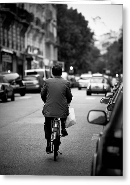 Greeting Card featuring the photograph Paris By Bike by Edward Myers