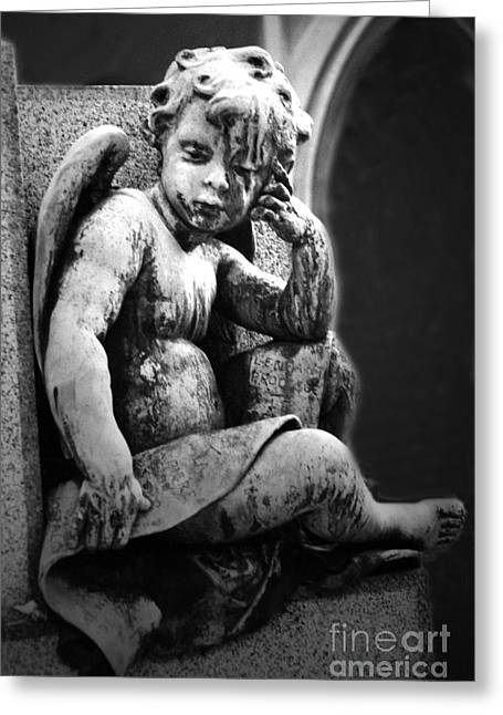 Paris Cemetery - Pere La Chaise - Black And White Cherub Greeting Card by Kathy Fornal