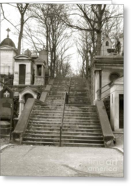 Paris Cemetery Staircase - Pere Lachaise Mausoleum Stairs  Greeting Card by Kathy Fornal