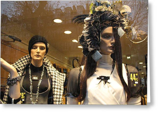 Paris Avante Garde High Fashion Mannequin Art Deco Window Display Greeting Card by Kathy Fornal