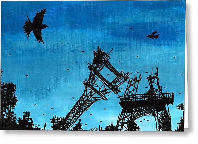 Paris Is Falling Down Greeting Card by Jera Sky