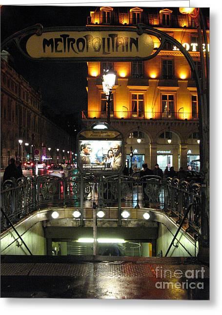 Paris Metro Station Night Scene  Greeting Card