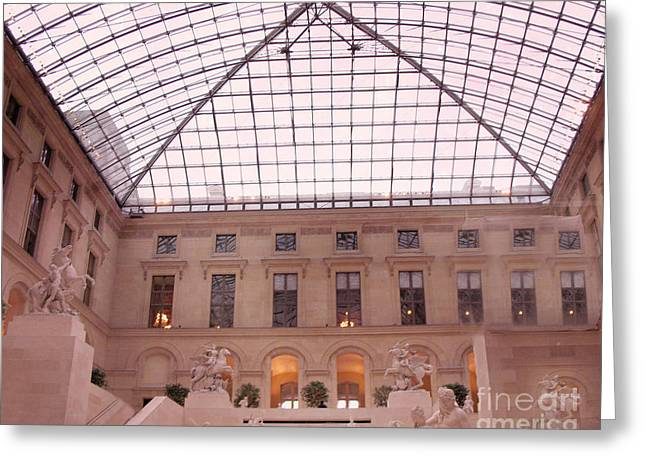 Paris Musee Du Louvre Pyramid Sculptures Greeting Card by Kathy Fornal