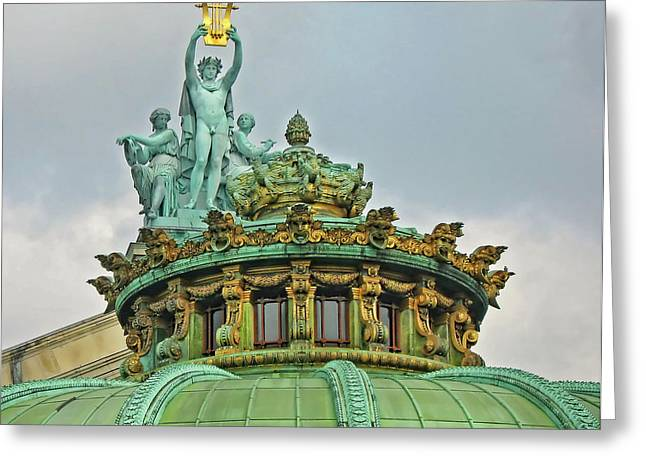 Greeting Card featuring the photograph Paris Opera House Roof by Dave Mills