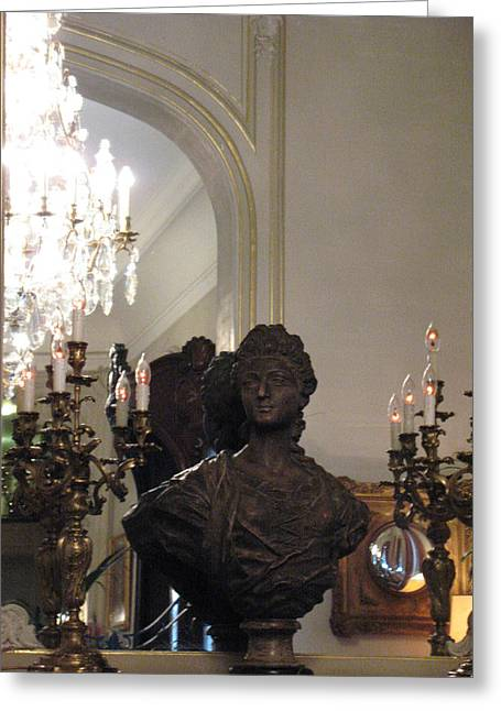 Paris Sculpture Bust - Hotel Regina Chandelier Greeting Card by Kathy Fornal