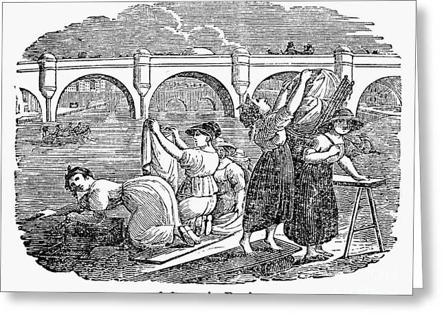 Paris: Seine River, 1830s Greeting Card by Granger