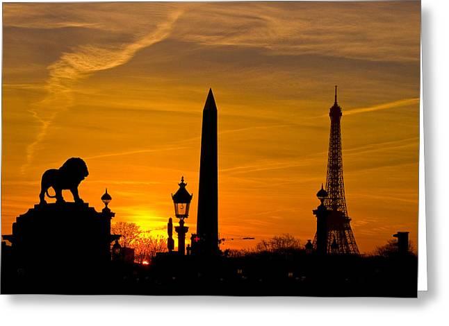 Paris Sunset Greeting Card by Kurt Weiss